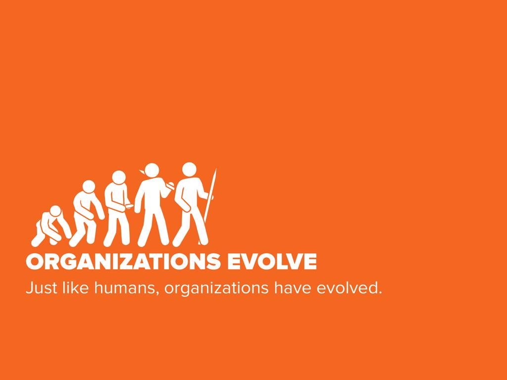ORGANIZATIONS EVOLVE Just like humans, organiza...