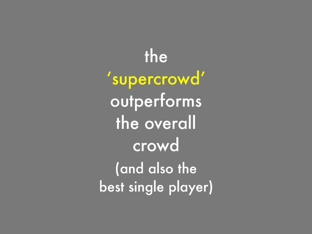 the 'supercrowd' outperforms the overall crowd ...