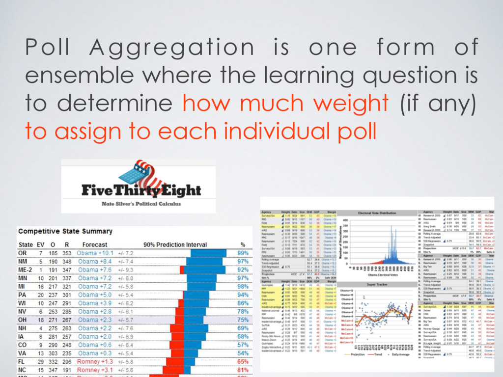 Poll Aggregation is one form of ensemble where ...