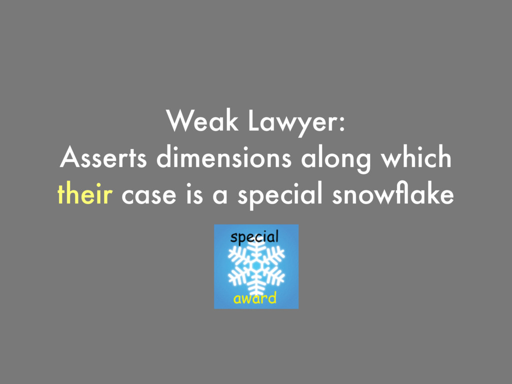 Weak Lawyer: Asserts dimensions along which the...