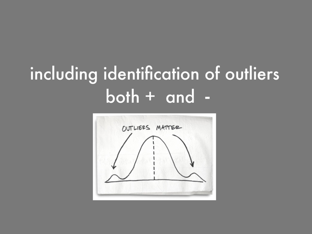 including identification of outliers both + and -