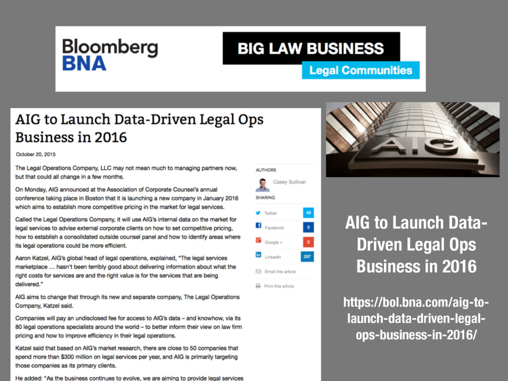 AIG to Launch Data- Driven Legal Ops Business i...