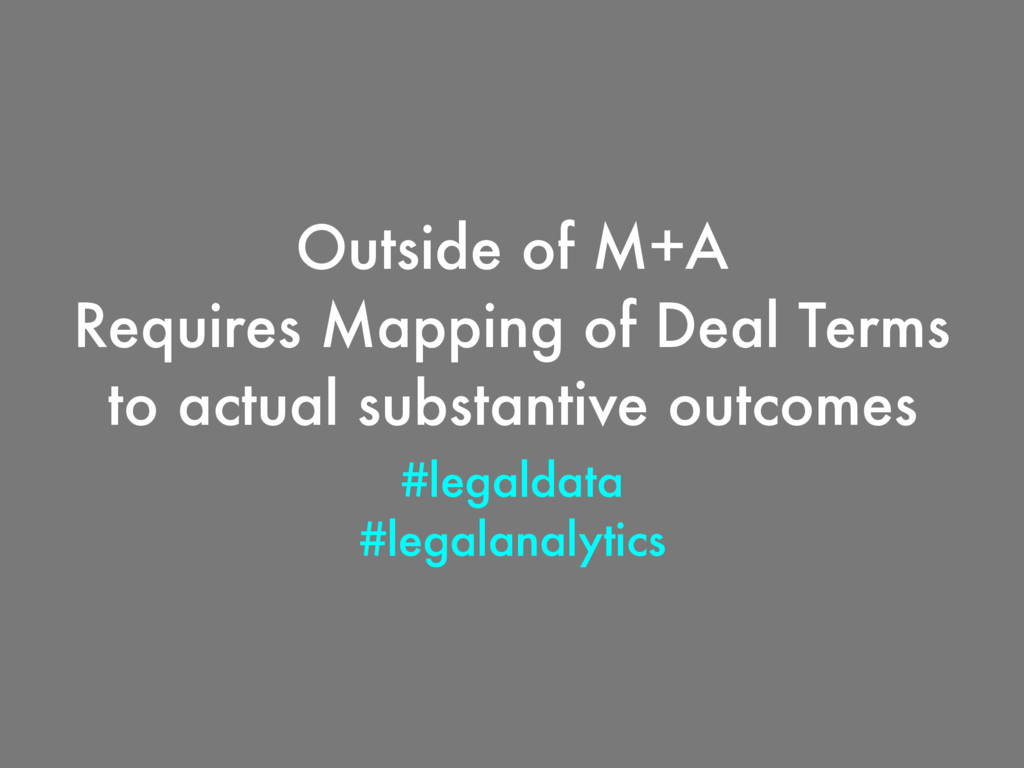 Outside of M+A Requires Mapping of Deal Terms t...