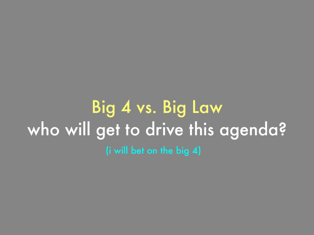 Big 4 vs. Big Law who will get to drive this ag...