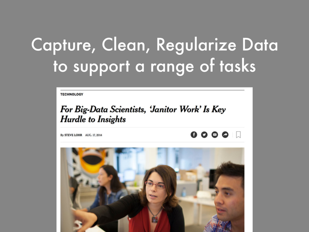 Capture, Clean, Regularize Data to support a ra...