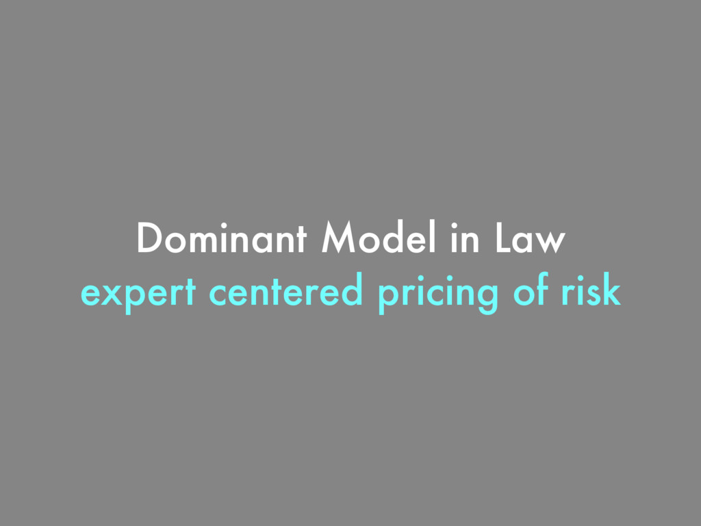 Dominant Model in Law expert centered pricing o...