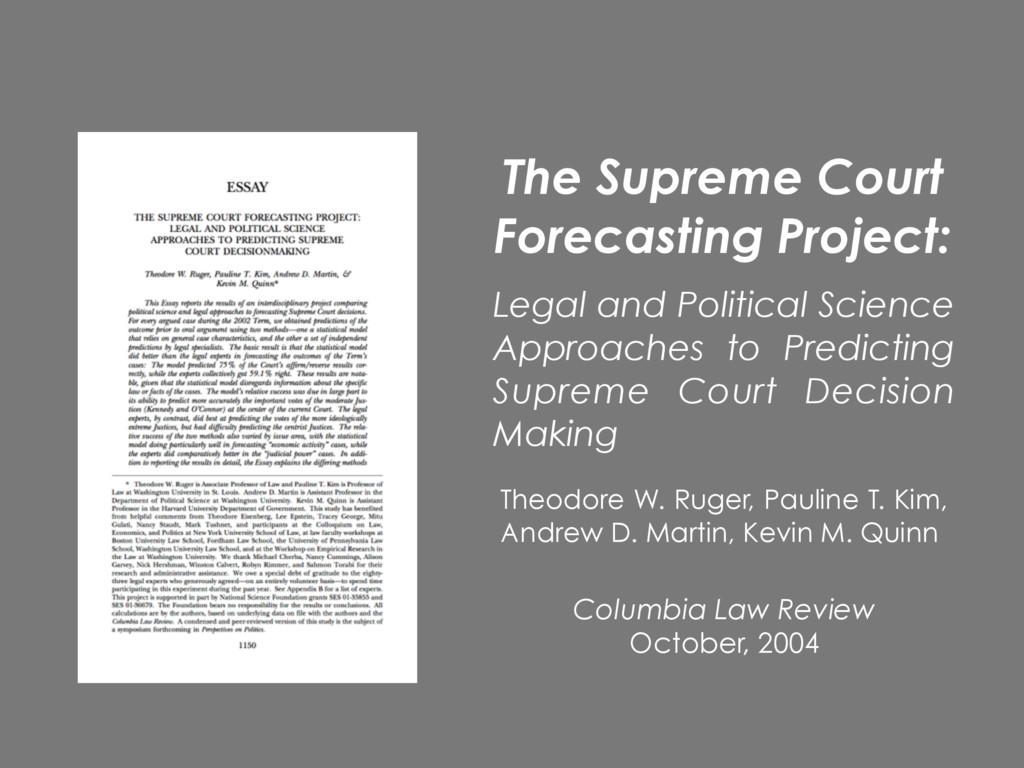 Columbia Law Review October, 2004 Theodore W. R...
