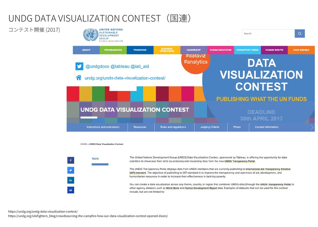 UNDG DATA VISUALIZATION CONTEST(国連) コンテスト開催 (20...