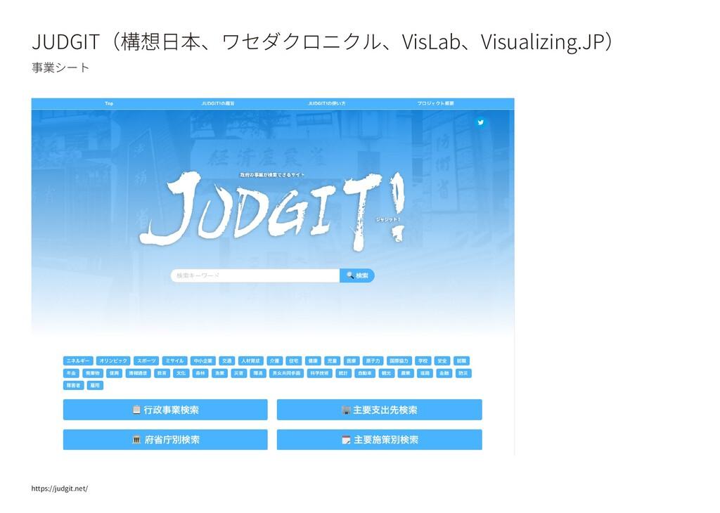 JUDGIT(構想日本、ワセダクロニクル、VisLab、Visualizing.JP) 事業シ...