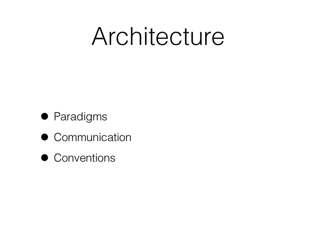 Architecture • Paradigms • Communication • Conv...