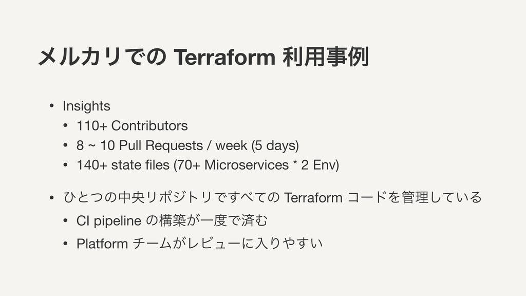 ϝϧΧϦͰͷ Terraform ར༻ྫ • Insights  • 110+ Contri...