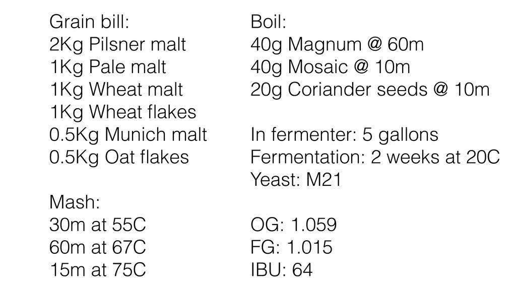 Grain bill: 2Kg Pilsner malt 1Kg Pale malt 1Kg ...