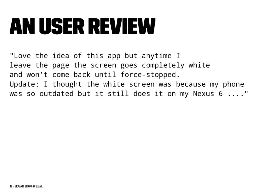 "An User Review ""Love the idea of this app but a..."