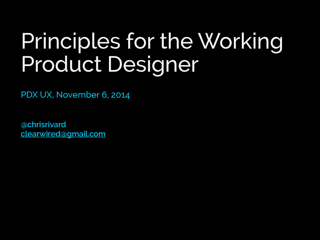 Principles for the Working Product Designer PDX...