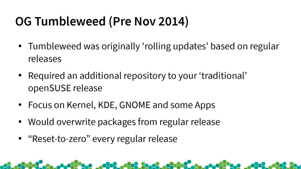 OG Tumbleweed (Pre Nov 2014) ● Tumbleweed was o...