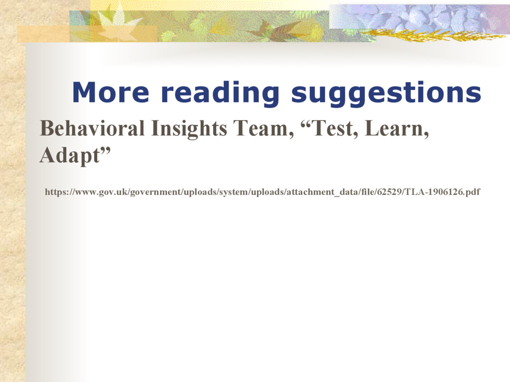 More reading suggestions Behavioral Insights Te...