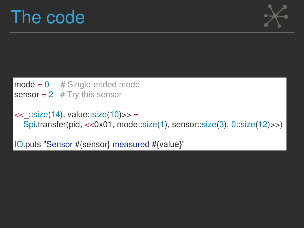 The code mode = 0 # Single-ended mode sensor = ...