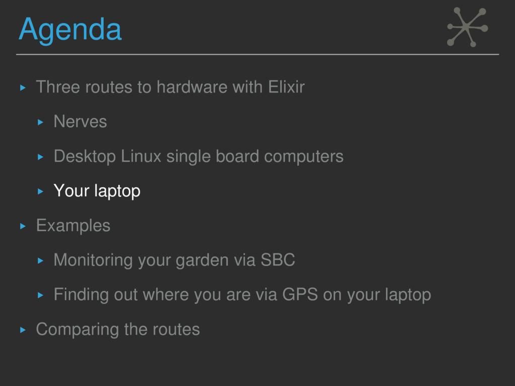 Agenda ▸ Three routes to hardware with Elixir ▸...
