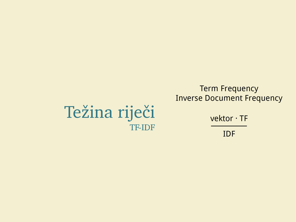 Težina riječi TF-IDF Term Frequency Inverse Doc...