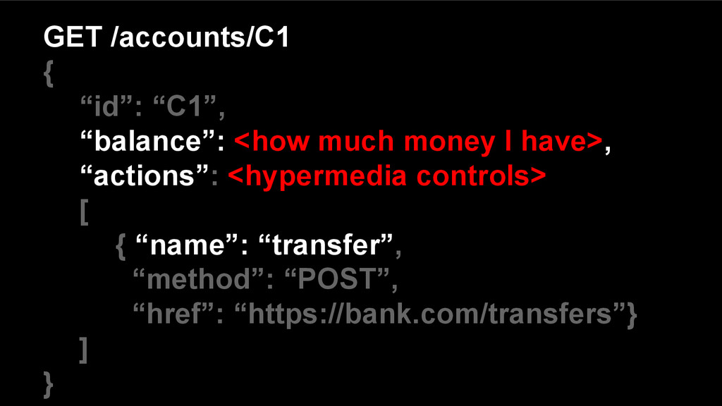 "GET /accounts/C1 { ""id"": ""C1"", ""balance"": <how ..."