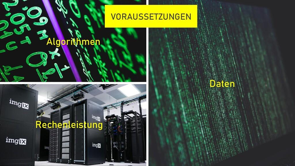 Algorithmen Rechenleistung Daten VORAUSSETZUNGEN