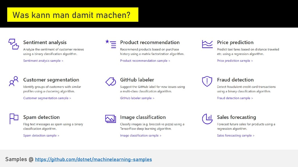 A few things you can do with ML.NET … Was kann ...