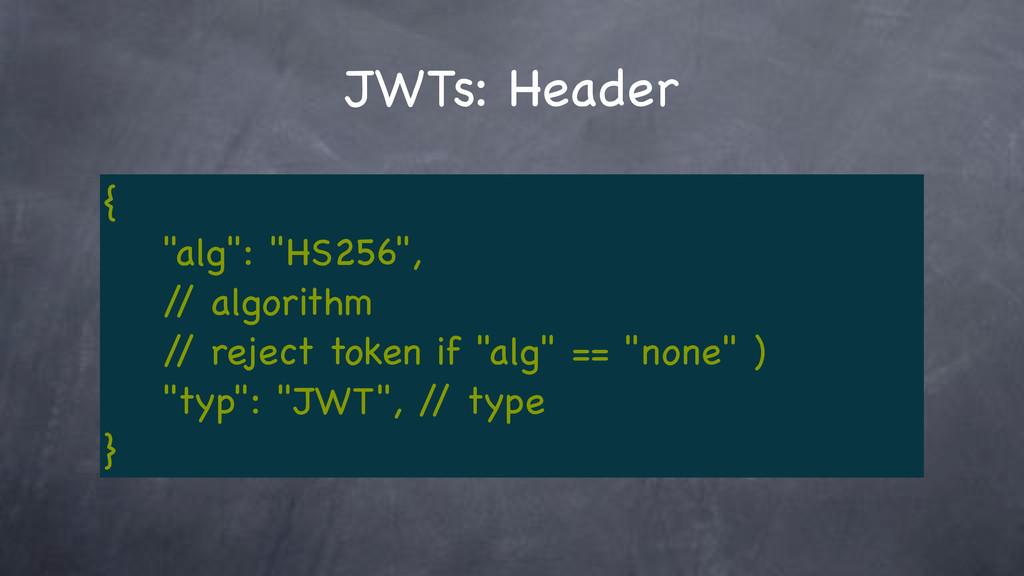 """JWTs: Header { """"alg"""": """"HS256"""", / / algorithm / ..."""