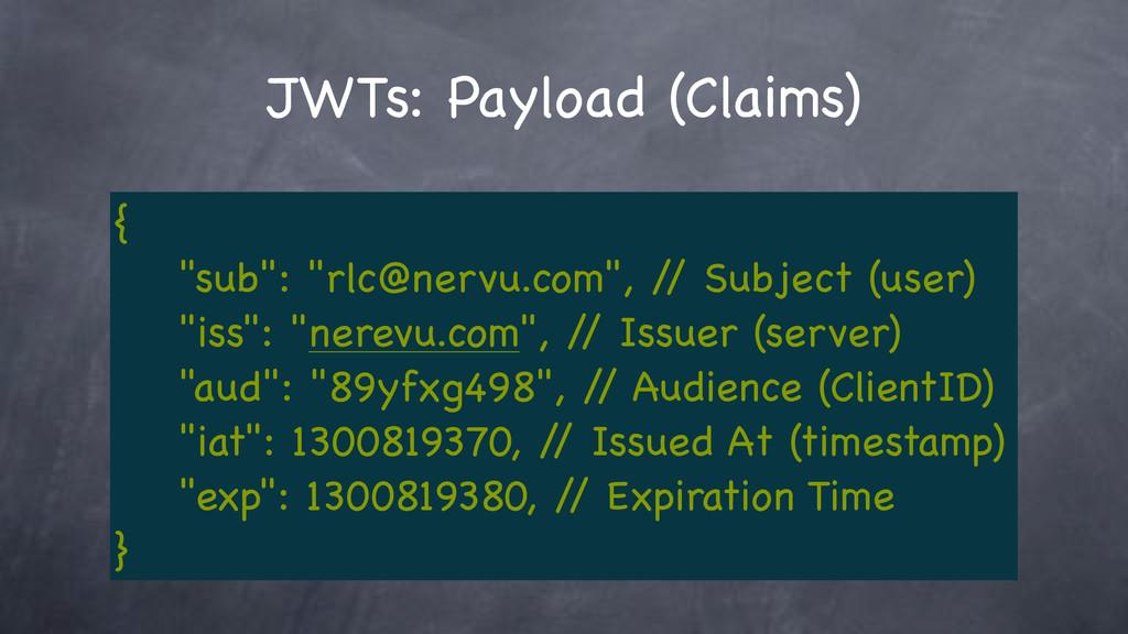 "JWTs: Payload (Claims) { ""sub"": ""rlc@nervu.com""..."