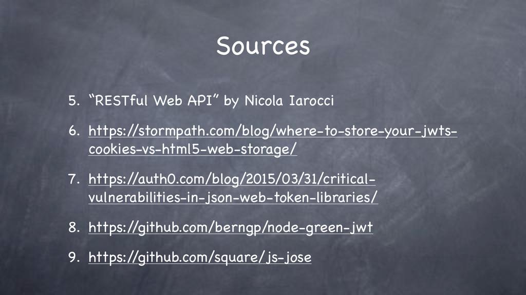 """Sources 5. """"RESTful Web API"""" by Nicola Iarocci ..."""