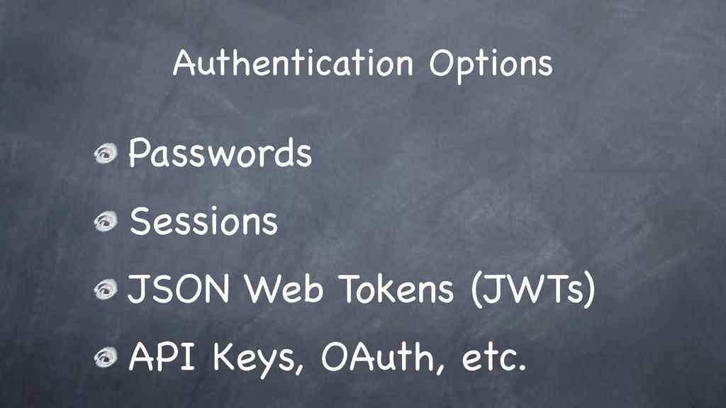 Authentication Options Passwords Sessions JSON ...