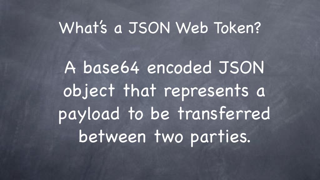 What's a JSON Web Token? A base64 encoded JSON ...
