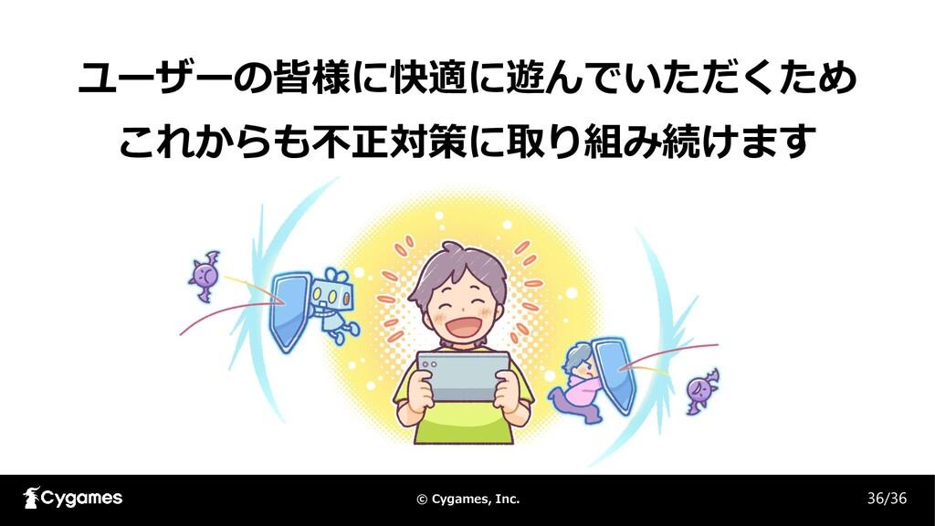 © Cygames, Inc. 36/36 ユーザーの皆様に快適に遊んでいただくため これから...