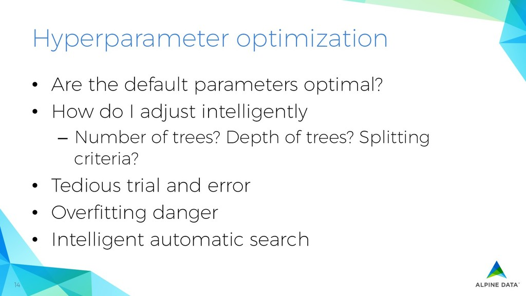 14 Hyperparameter optimization •  Are the defau...