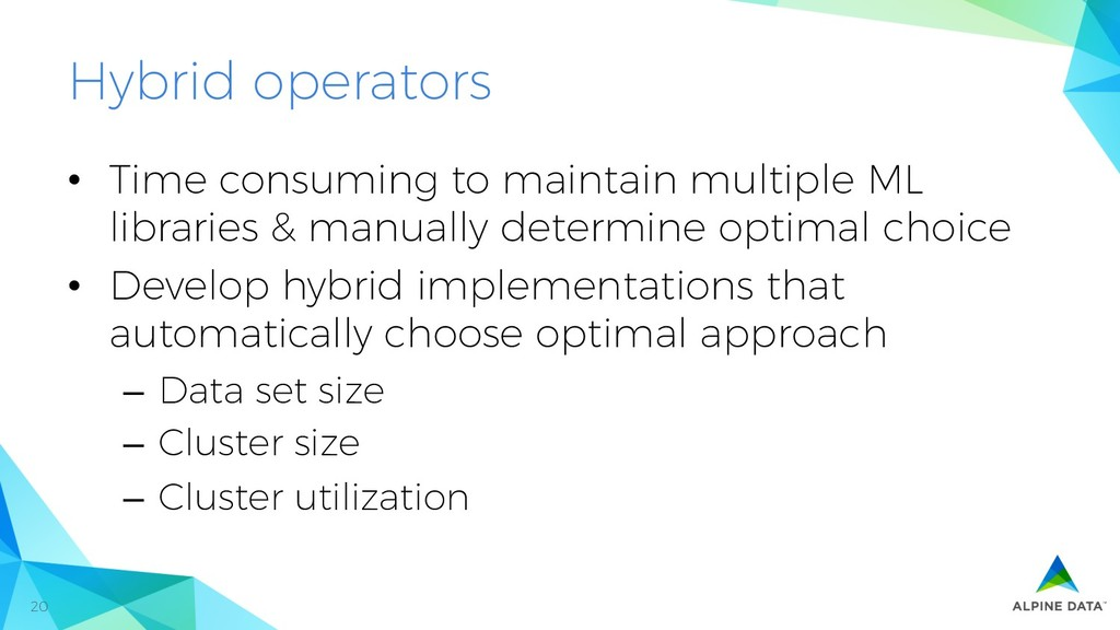 20 Hybrid operators •  Time consuming to mainta...