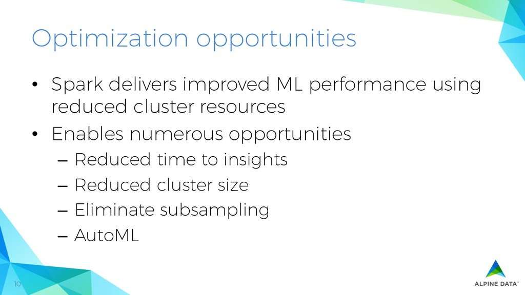 10 Optimization opportunities • Spark delivers...