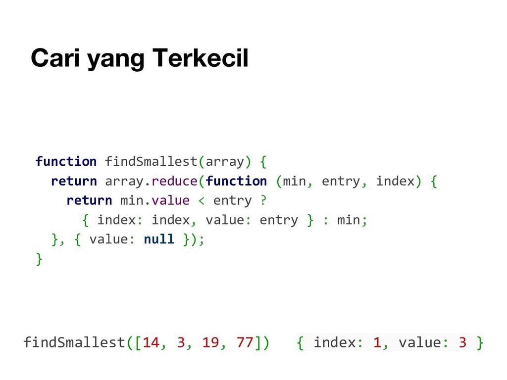 Cari yang Terkecil function findSmallest(array)...