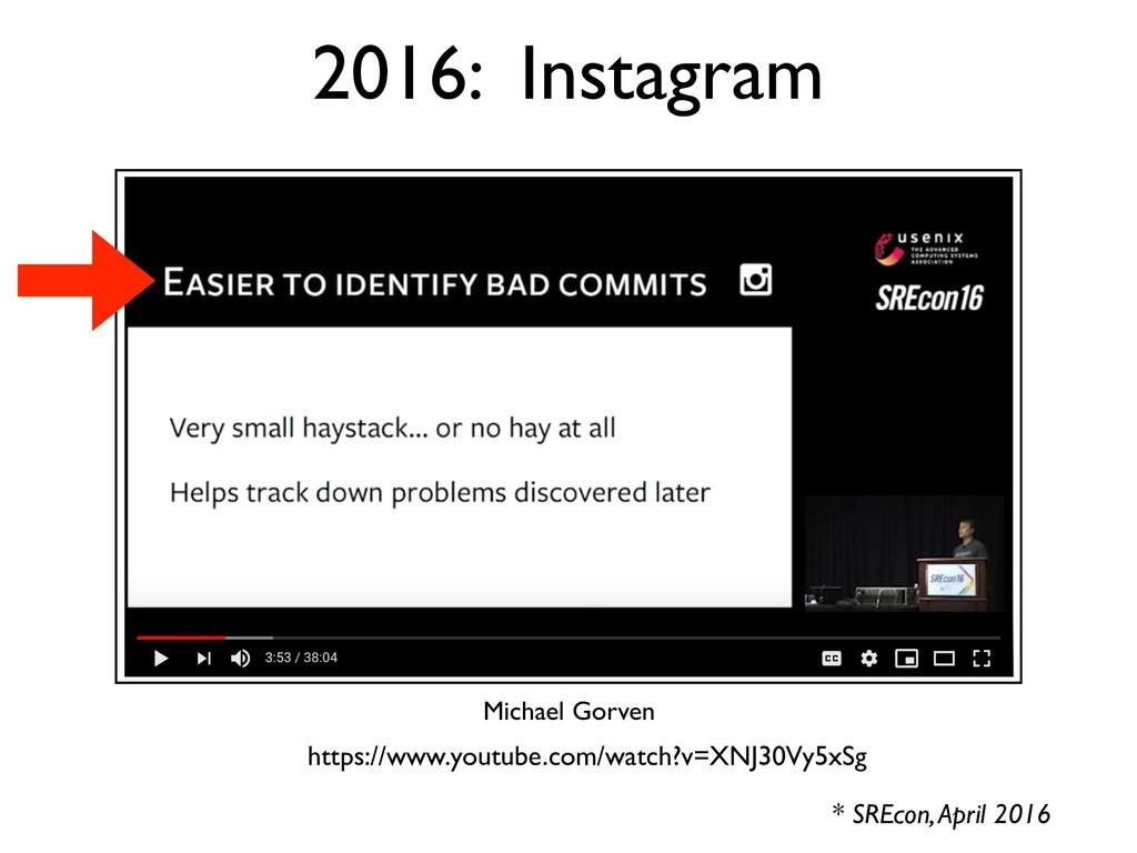 2016: Instagram * SREcon, April 2016 Michael Go...