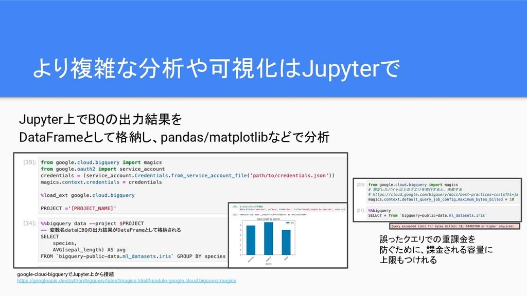 より複雑な分析や可視化はJupyterで Jupyter上でBQの出力結果を DataFram...