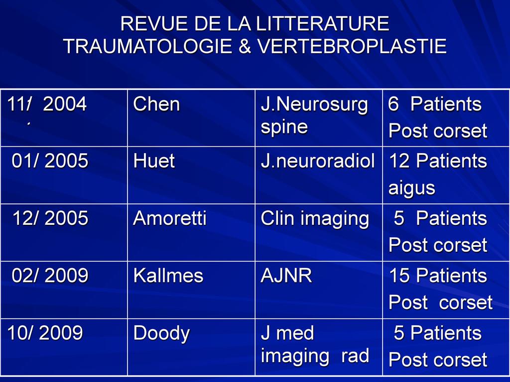 REVUE DE LA LITTERATURE TRAUMATOLOGIE & VERTEBR...