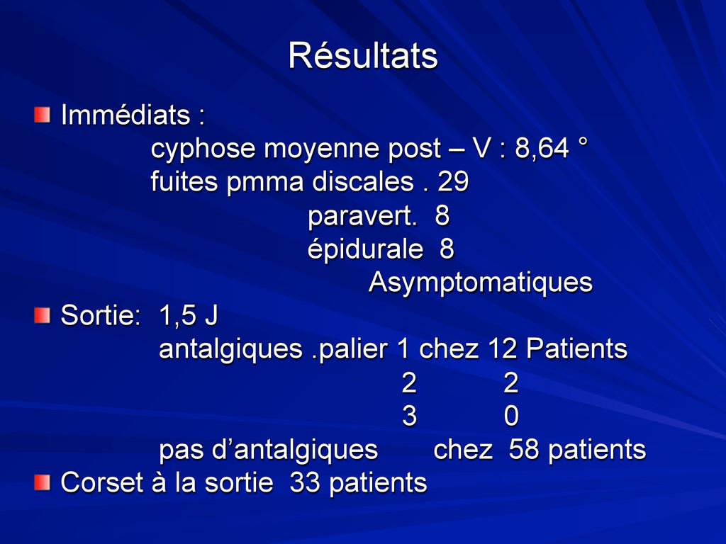 Résultats Immédiats : cyphose moyenne post – V ...