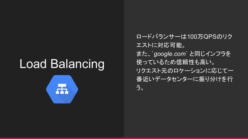 Load Balancing ロードバランサーは100万QPSのリク エストに対応可能。 また...
