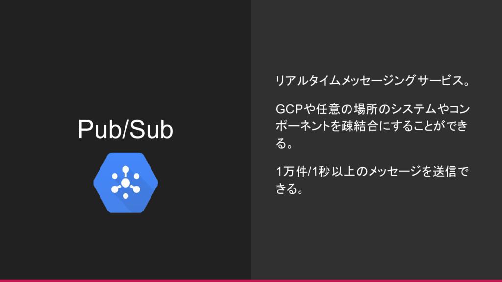 Pub/Sub リアルタイムメッセージングサービス。 GCPや任意の場所のシステムやコン ポー...