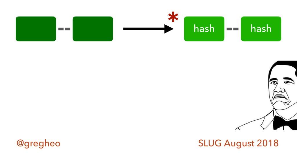 @gregheo SLUG August 2018 == hash hash == *