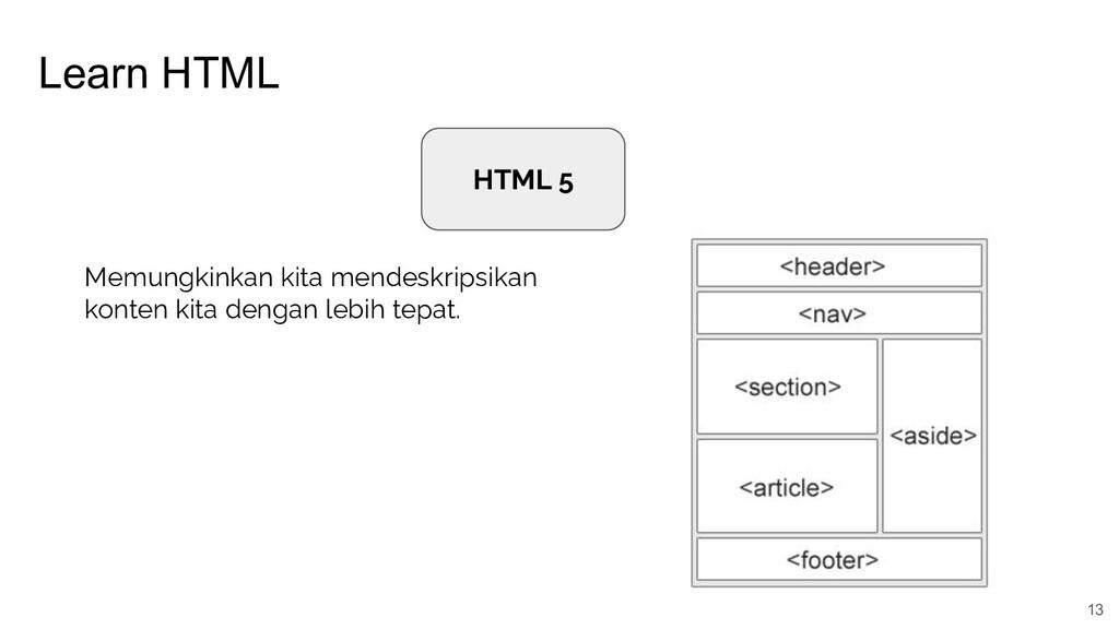 Learn HTML 13 HTML 5 Memungkinkan kita mendeskr...