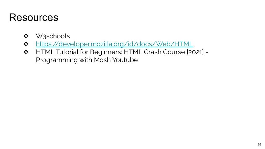 Resources 14 ❖ W3schools ❖ https:/ /developer.m...