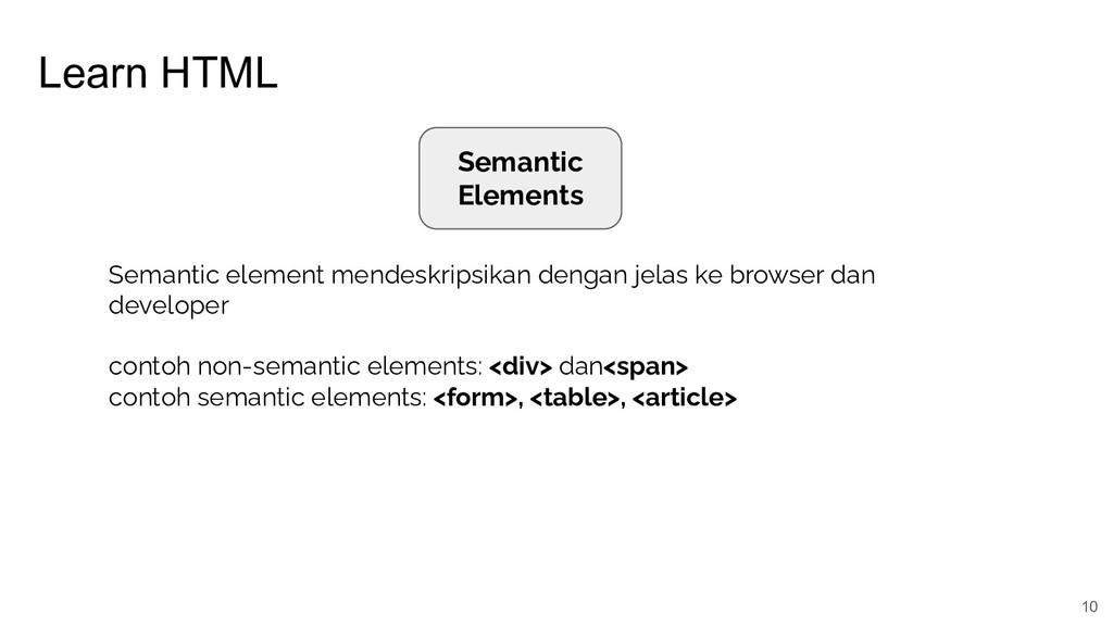 Learn HTML 10 Semantic Elements Semantic elemen...