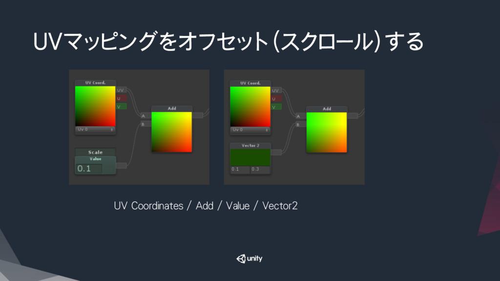UVマッピングをオフセット(スクロール)する UV Coordinates / Add / ...