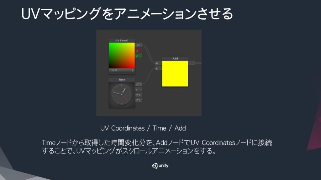 UVマッピングをアニメーションさせる Timeノードから取得した時間変化分を、Addノードで...