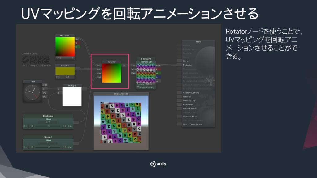 UVマッピングを回転アニメーションさせる Rotatorノードを使うことで、 UVマッピング...