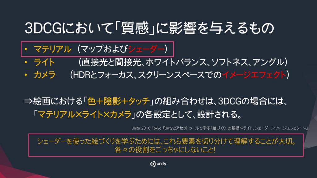3DCGにおいて「質感」に影響を与えるもの • マテリアル (マップおよびシェーダー) ...